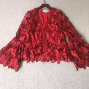 Alexis Red Lace Crotchet Bell sleeves Top